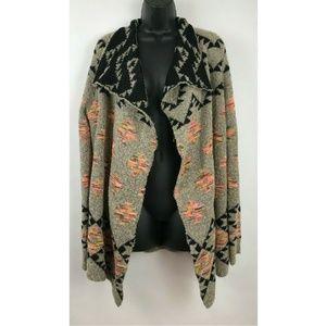 Altard State Pink Black Gray Aztec Womens Cardigan